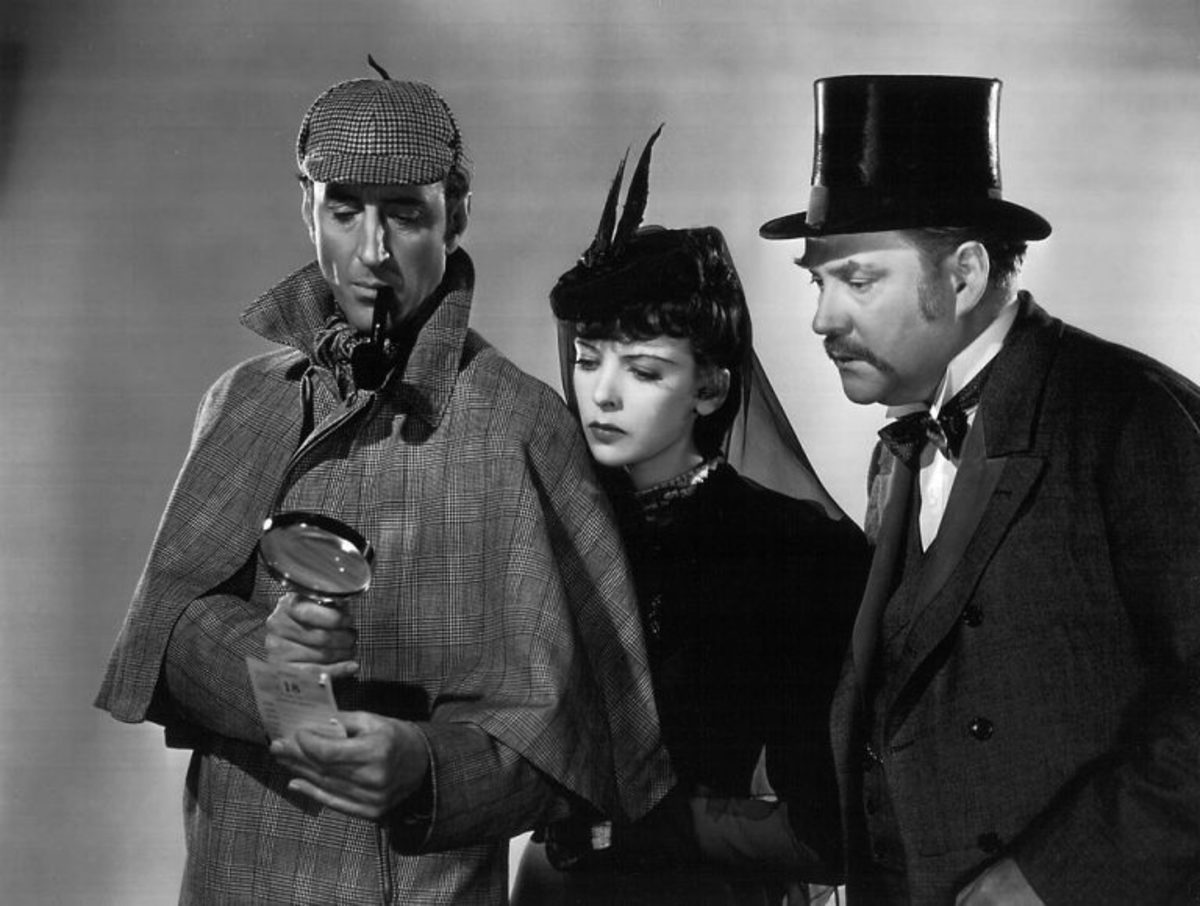Basil Rathbone with Ida Lupida and Nigel Bruce (as Watson)
