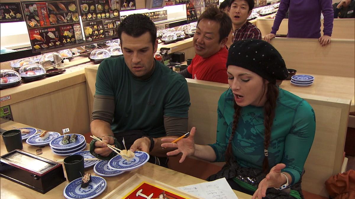 Rachel & Brendan playing sushi Bingo