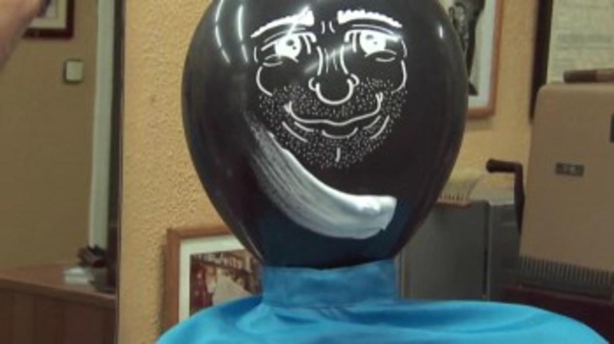 A balloon ready for shaving