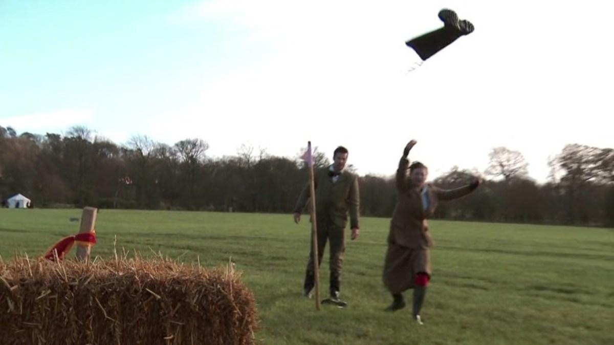 Brendan & Rachael demonstrate Welly Throwing