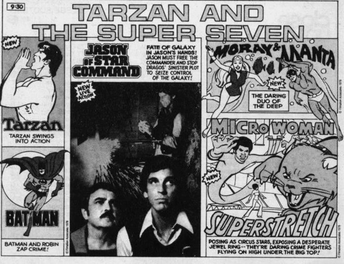 Vintage advertisement for Tarzan and the Super Seven