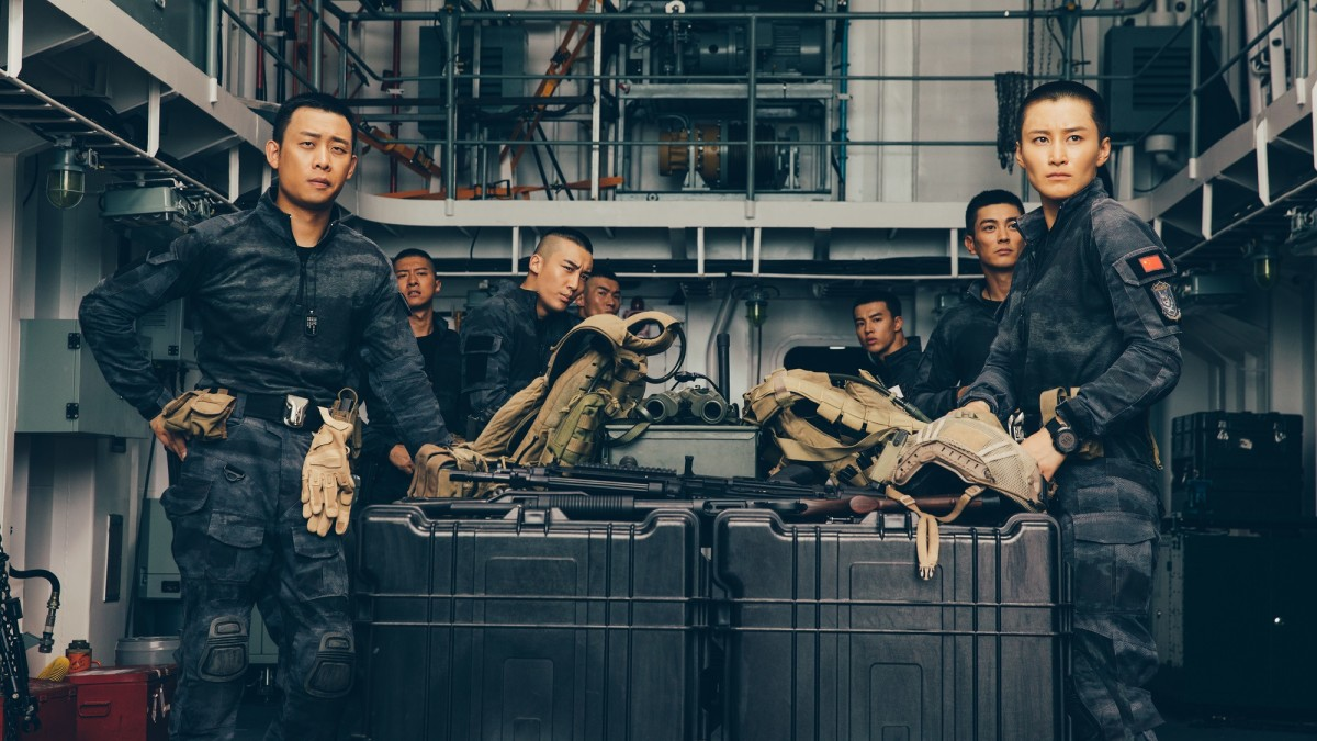 "Luxia Jiang, Yi Zhang, Fang Yin, Jiang Du, Jiahao Guo, Yutian Wang, and Henry Prince Mak in, ""Operation Red Sea."""