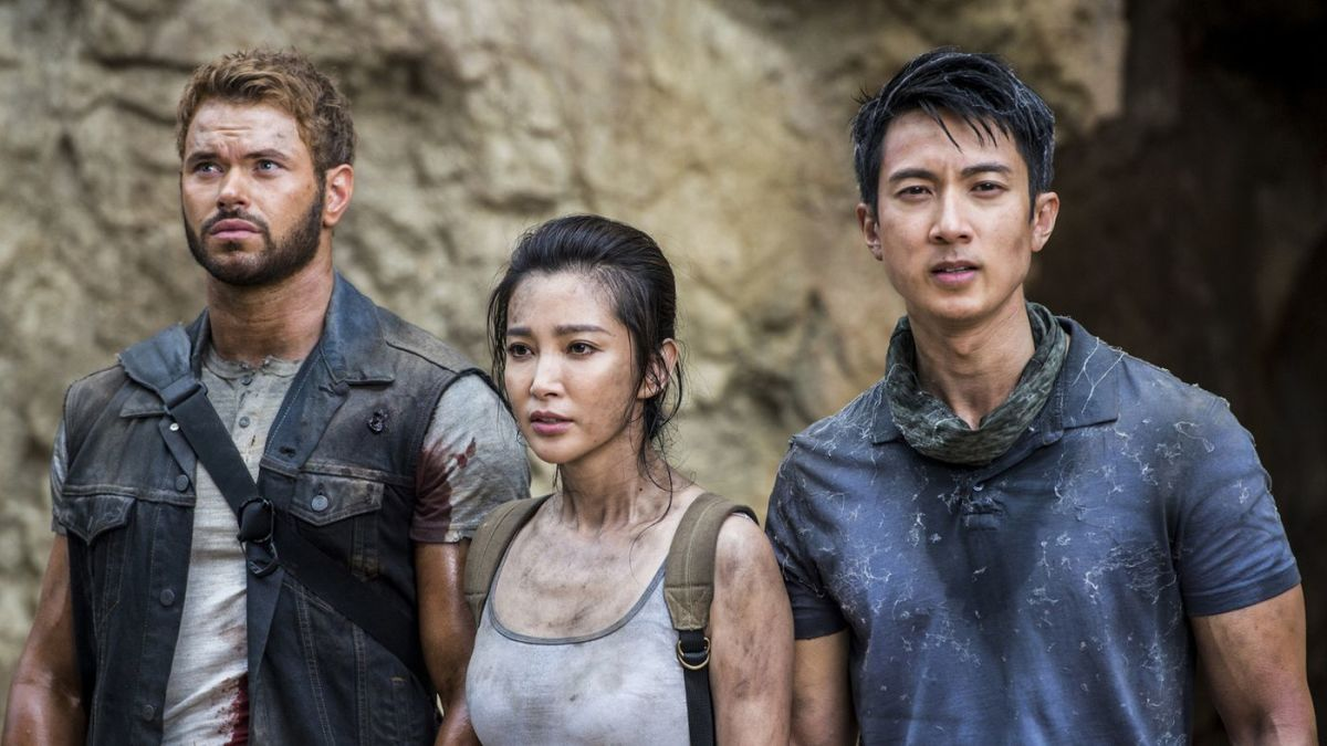 "Kellan Lutz, Li Bingbing, and Wu Chun being dirty, shiny, and pretty after watching a giant queen spider's butt jostle with crawling baby spiders in, ""7 Guardians of the Tomb."""