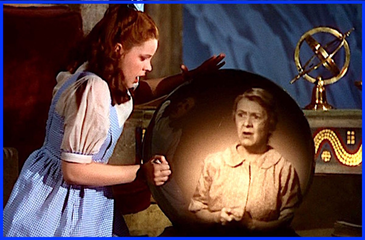 "Judy Garland as ""Dorothy Gale"" and Clara Blandick as ""Auntie Em"" in The Wizard of Oz."