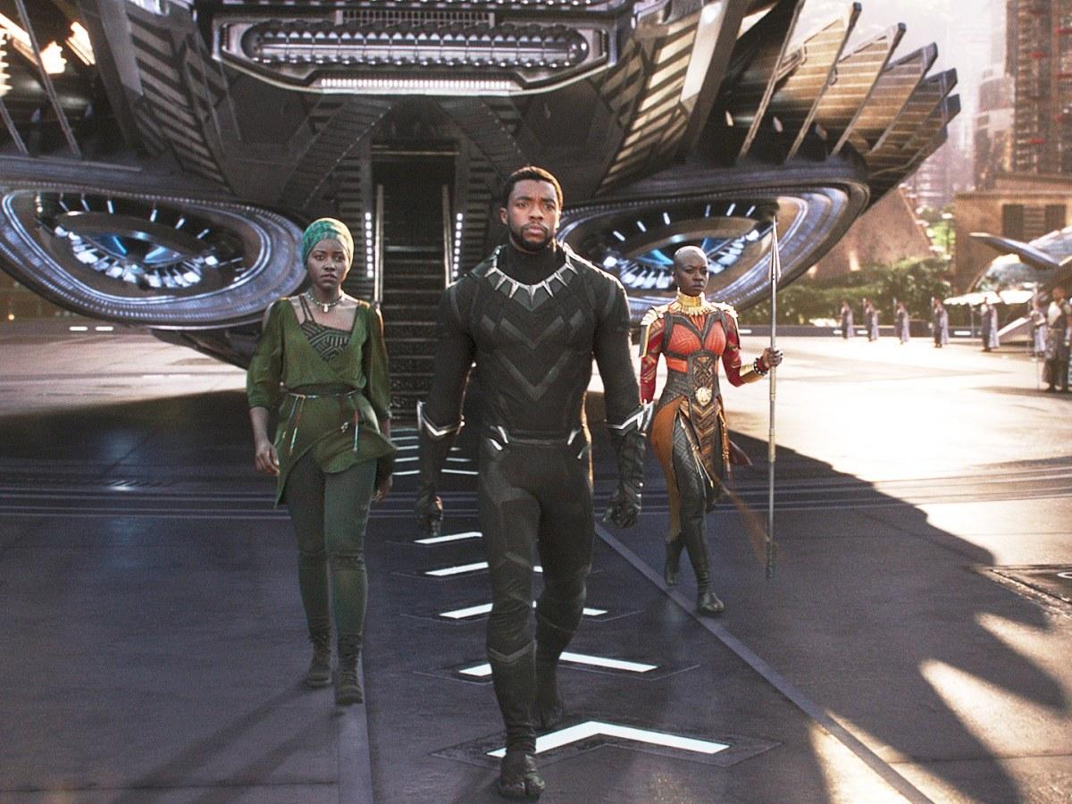 Nakia, T'Challa, and Okeye