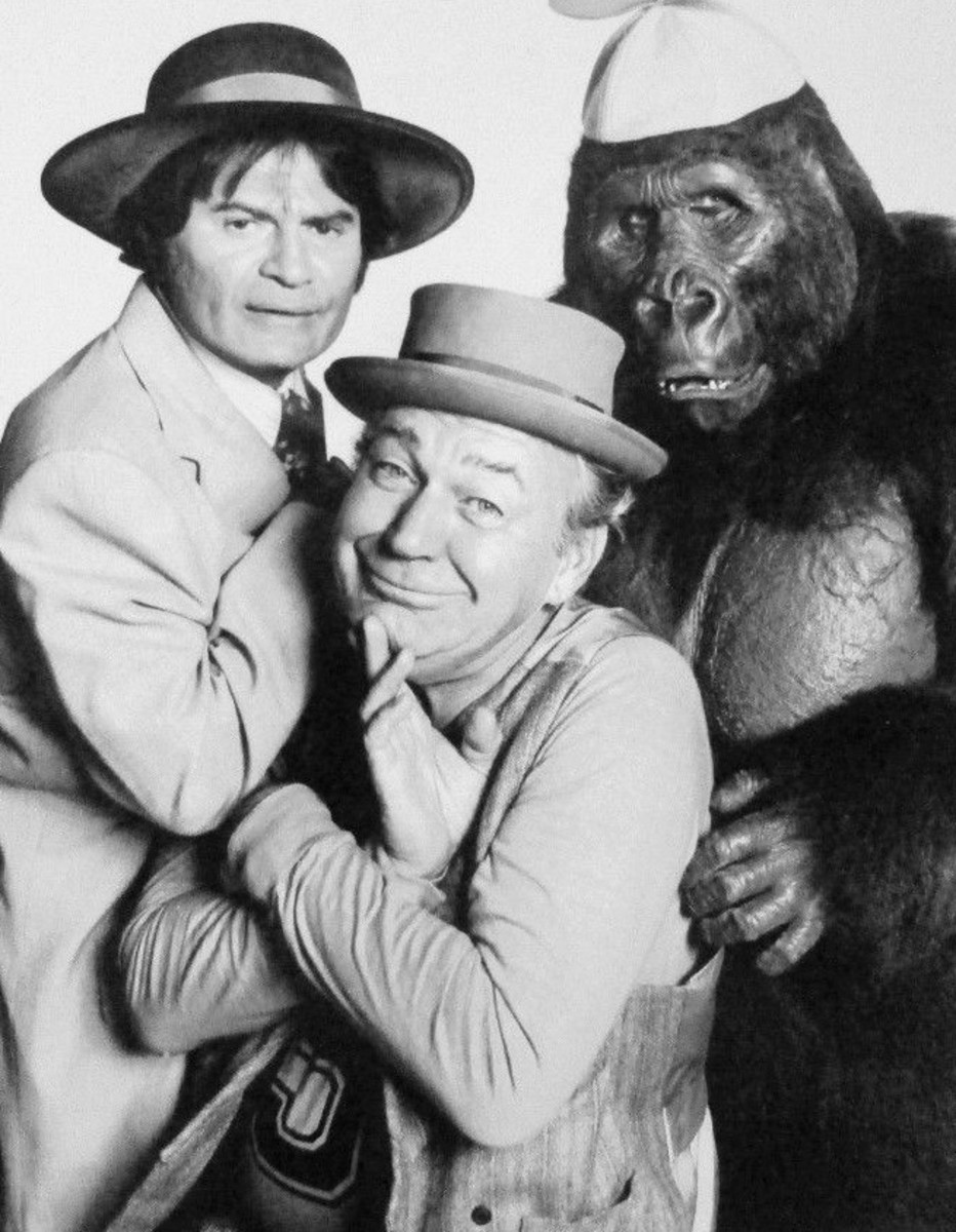 Larry Storch, Forrest Tucker and Bob Burns (in the gorilla suit)