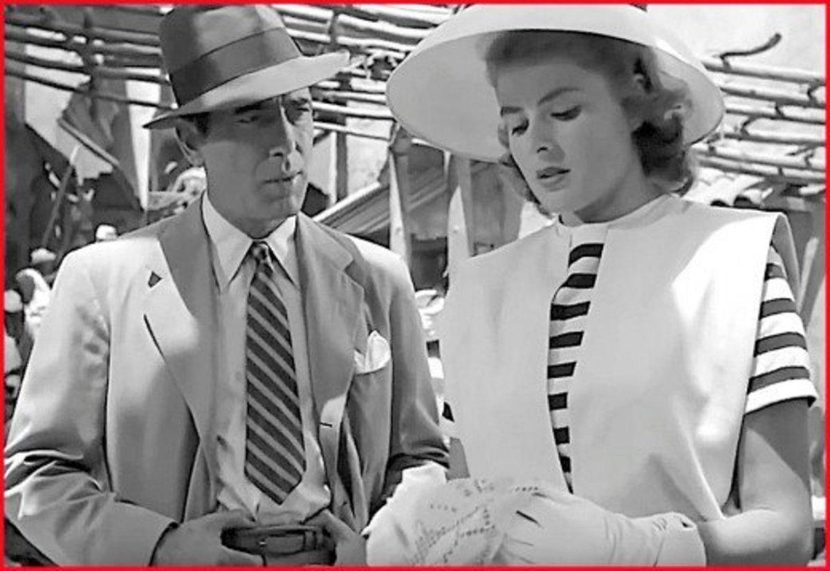 Humphrey Bogart and Ingrid Bergman as Rick and Ilsa in Casablanca.