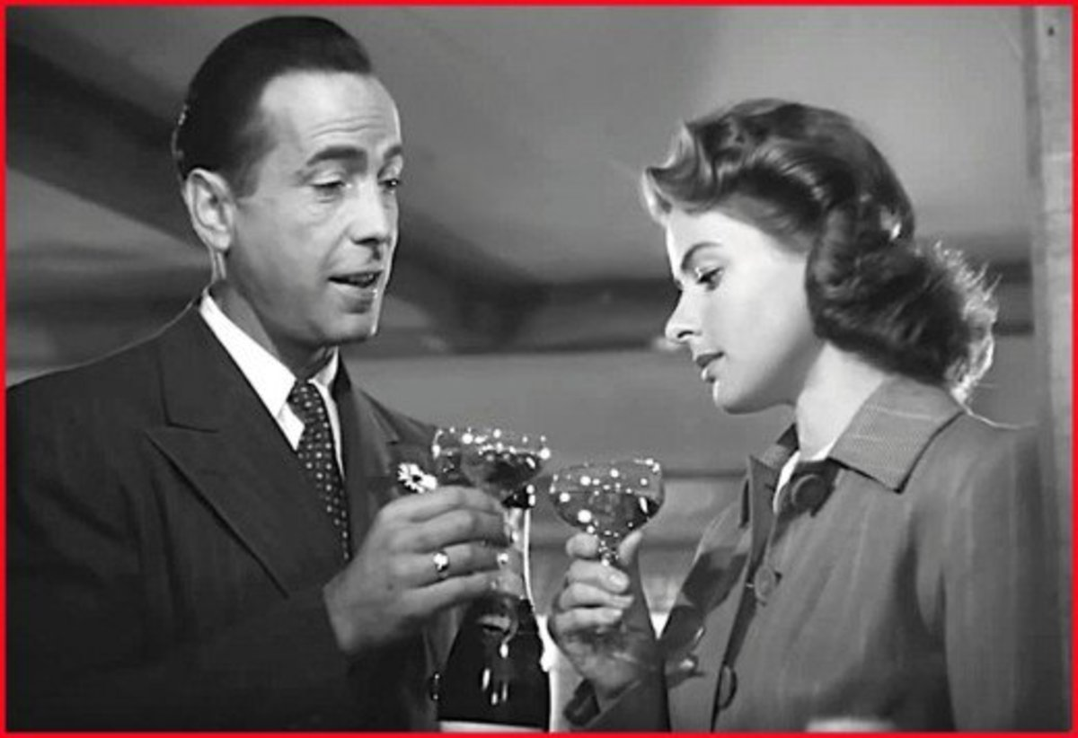 Humphrey Bogart and Ingrid Bergman share a toast in the movie Casablanca.  Off screen they weren't that close.