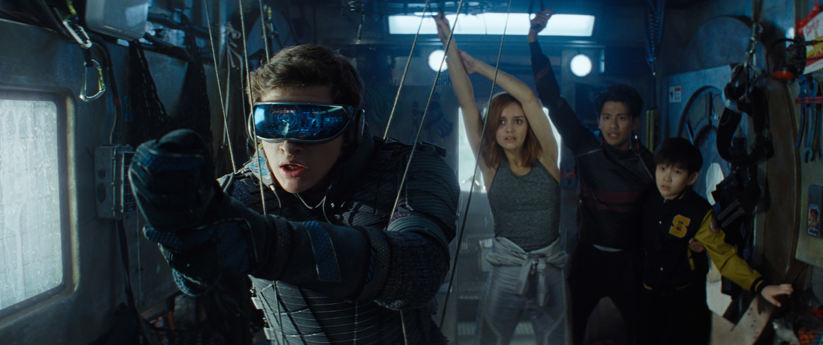 "From left to right: Wade Watts (Tye Sheridan), Samantha Cook (Olivia Cooke), Toshiro Yoshiaki (Win Morisaki), and Akihide Karatsu (Philip Zhao) in, ""Ready Player One."""