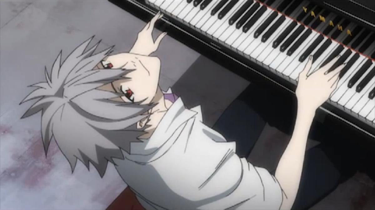 Kaworu playing his piano.