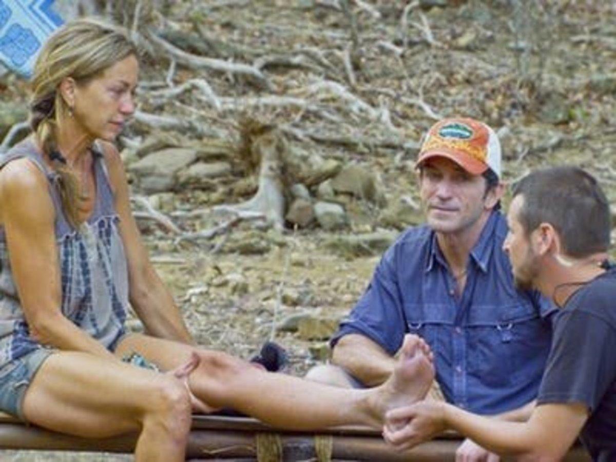 Missy on Survivor: San Juan del Sur getting treatment for her injured ankle.