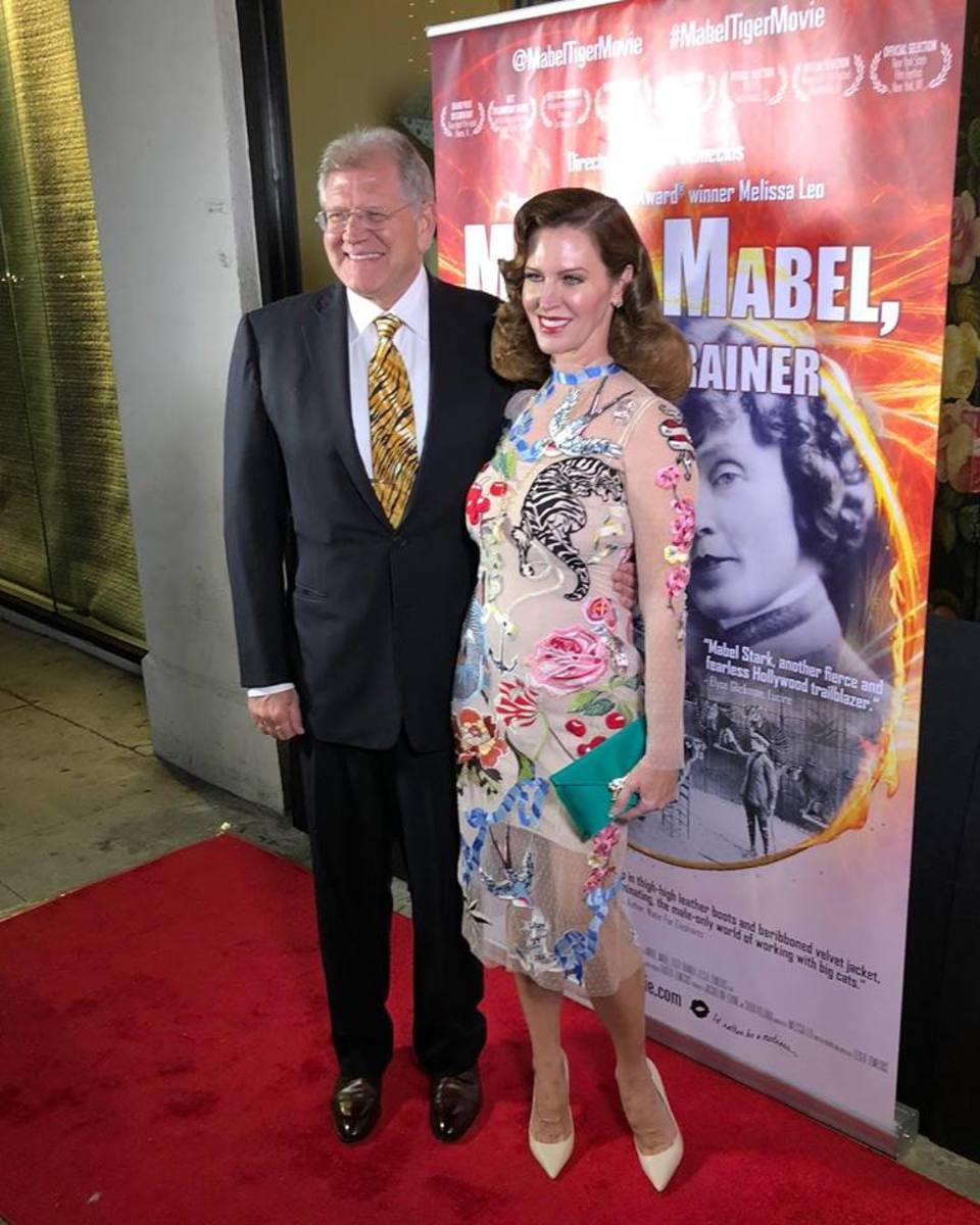 Leslie and her husband, Robert Zemeckis (executive producer of Mabel, Mabel, Tiger Trainer) at a film screening