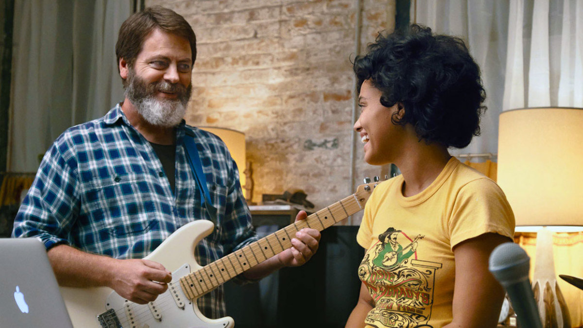 "Nick Offerman and Kiersey Clemons as Frank and Sam Fisher in, ""Hearts Beat Loud."""