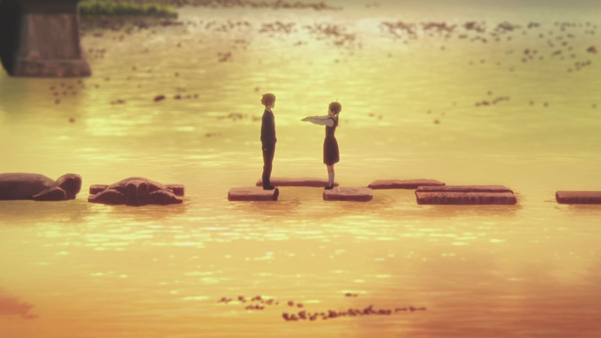 Mochizo and Tamako meet at the stepping stones, where they played as children.