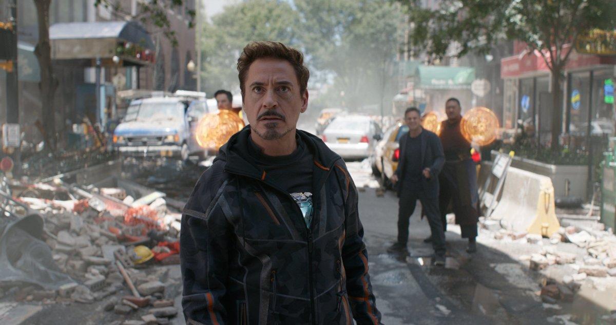 "Benedict Cumberbatch, Robert Downey Jr, Mark Ruffalo, and Benedict Wong as Dr. Strange, Tony Stark, Bruce Banner, and Wong in, ""Avengers: Infinity War."""