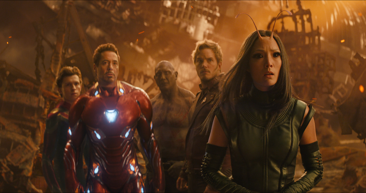 "Tom Holland, Robert Downey Jr, Dave Bautista, Chris Pratt, and Pom Klementieff as Spider-Man, Iron Man, Drax, Star-Lord, and Mantis in, ""Avengers: Infinity War."""