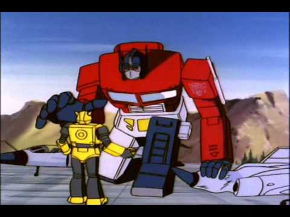 Bumblebee looks up to Optimus Prime.