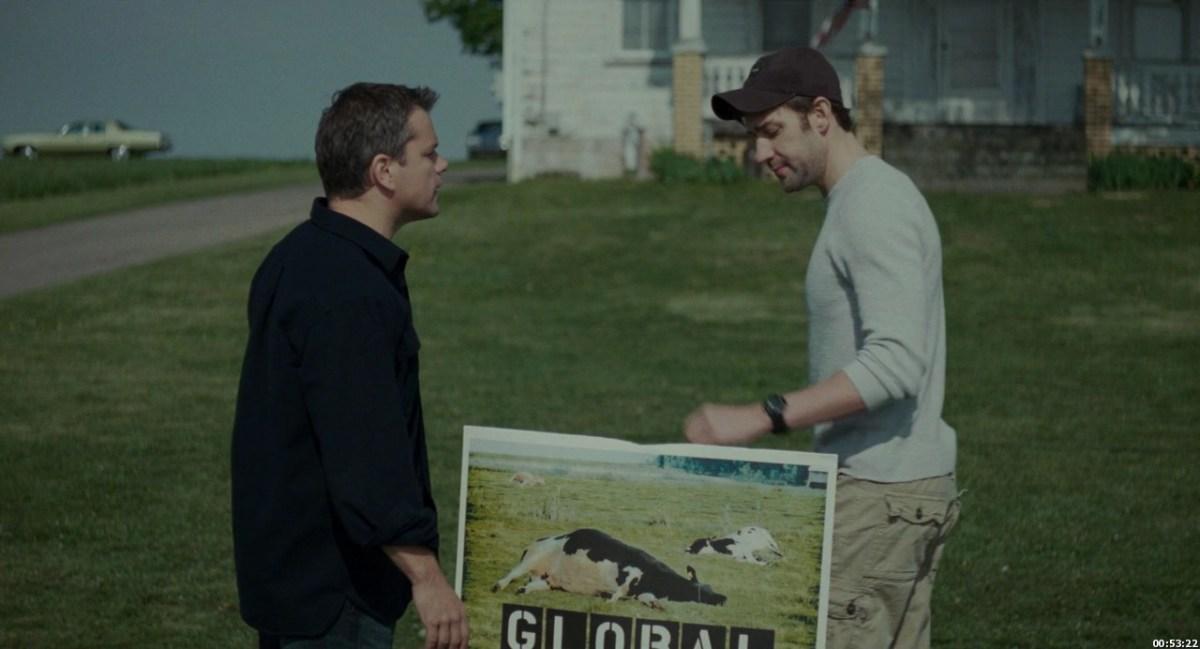 Matt Damon and John Krasinski in Promised Land.