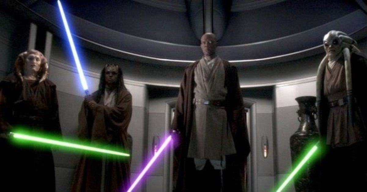Mace Windu and three Jedi Masters confront Palpatine