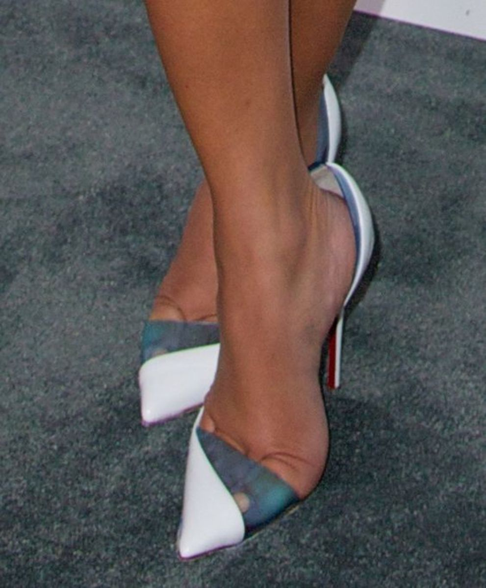 Adrienne Houghton  wearing Christian Louboutin 'Miss Rigidaine' pumps