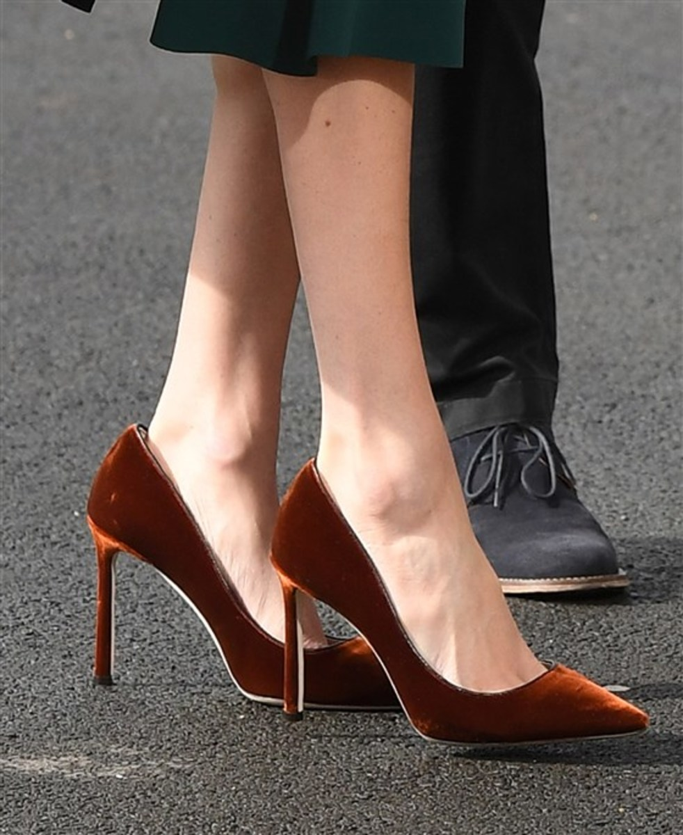 Velvet stilettos Meghan wore in March 2018 during a visit to Northern Ireland.