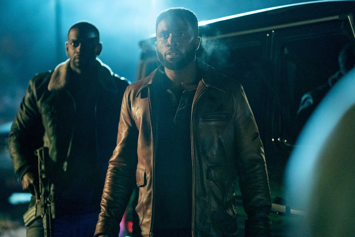 "Mo McRae and Y'Lan Noel as 7 & 7 and Dmitri in, ""The First Purge."""