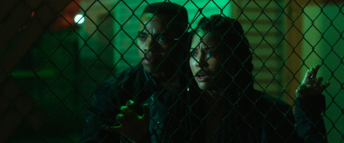 "Joivan Wade and Lex Scott Davis as Isaiah and Nya in, ""The First Purge."""