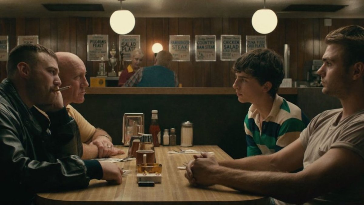 "Emory Cohen, Timothée Chalamet, and Alex Roe in, ""Hot Summer Nights."""