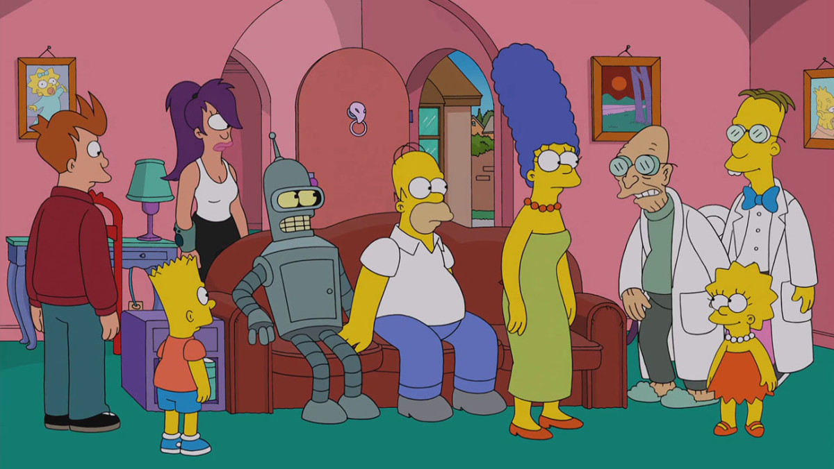 A still from the Simpsons/Futurama crossover episode.