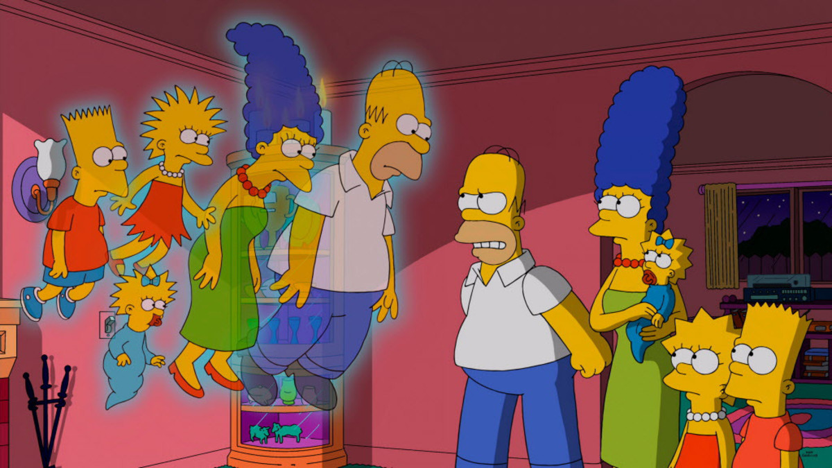 The current Simpsons family, visited by the ghosts of their counterparts from the original series of animated shorts.