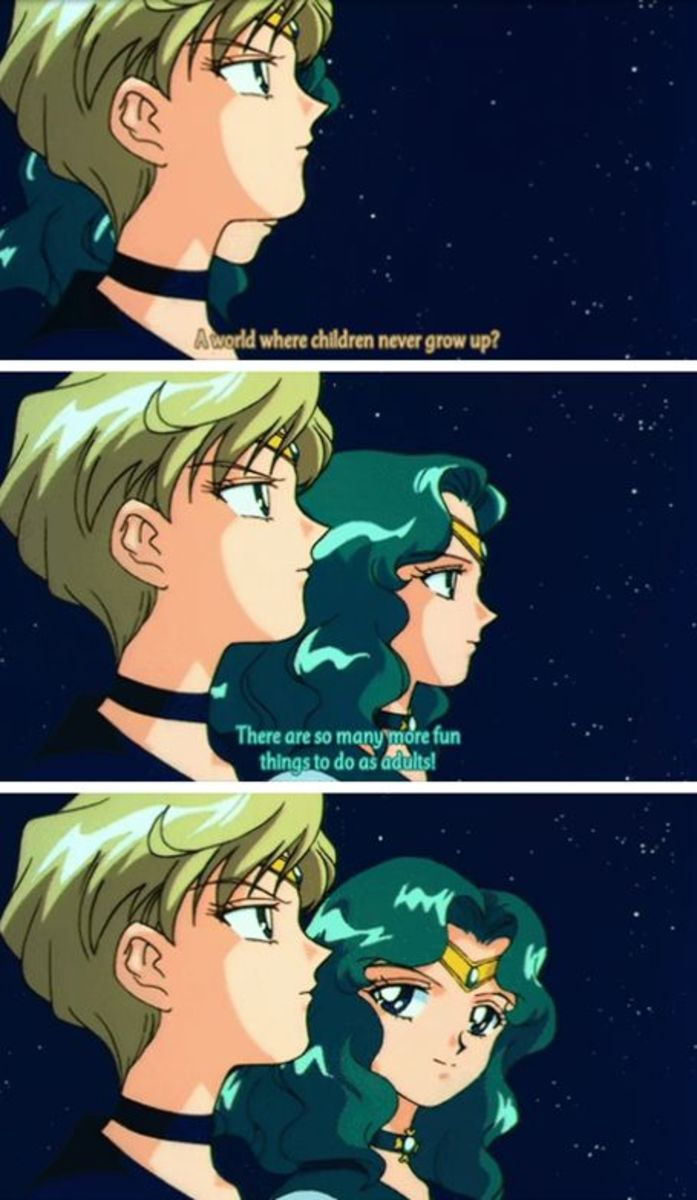 A scene from Sailor Moon featuring Sailor Uranus and Sailor Neptune.