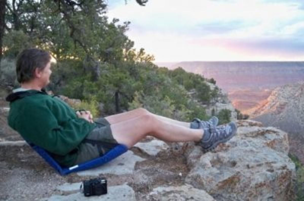Enjoying the Canyon from the rim in Crazy Creek chairs--what a relaxing evening!