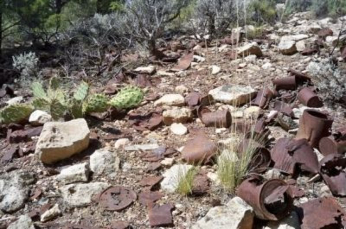 Historic trash at Bass Camp on the South Rim near the trailhead. Since it's more than 50 years old, it can't be removed.