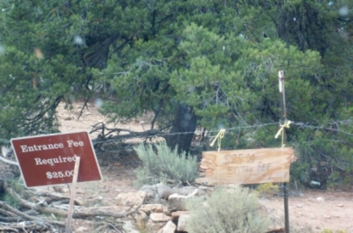 The gate between National Forest and the Havasupai Reservation, which you pass thru for 1.8 miles en route to the trailhead
