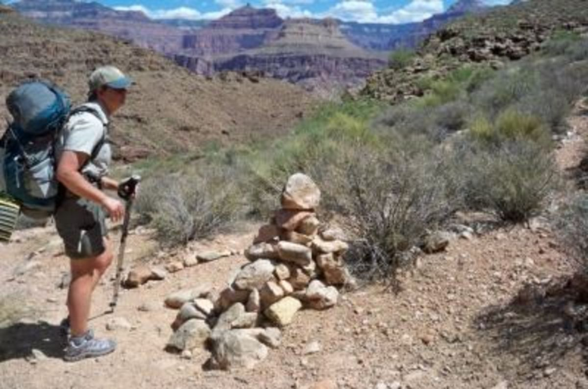 The cairn marking the intersection of South Bass and Tonto Trail east, which from here is 28 waterless miles to the Hermit Trail