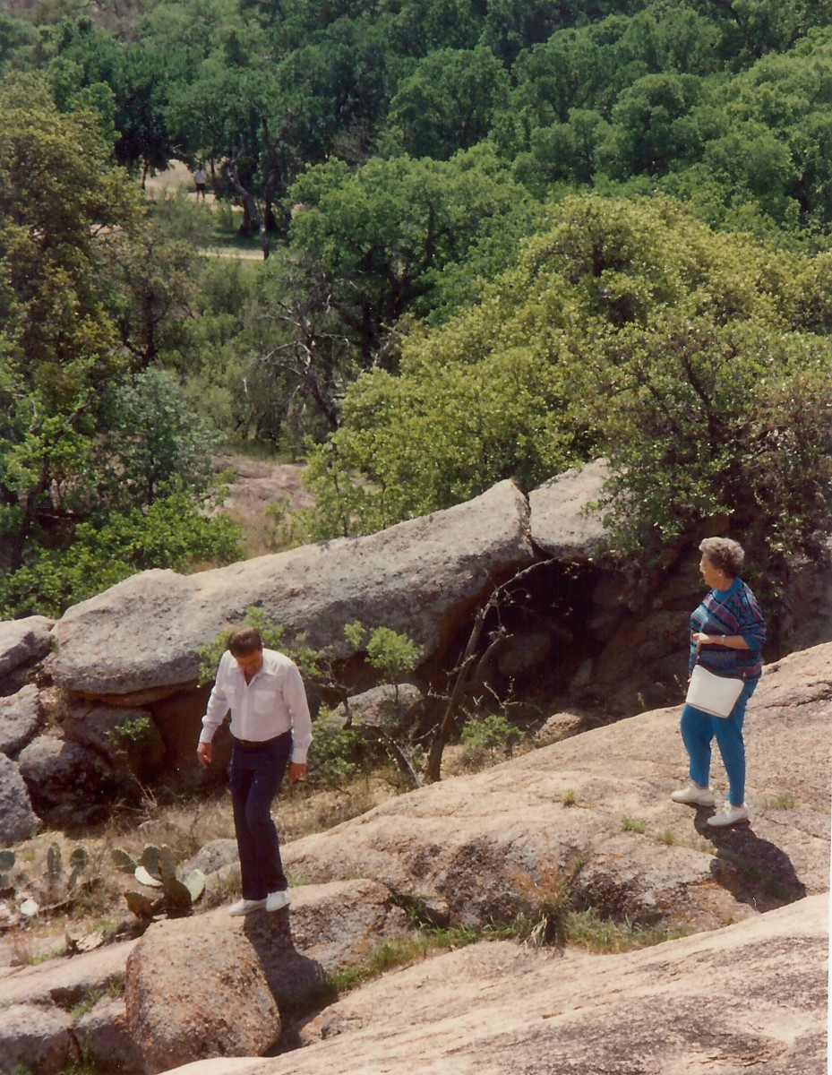 My brother and mother at Enchanted Rock State Park