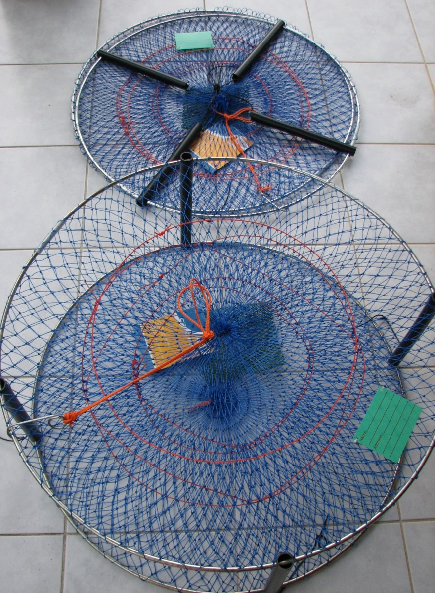 Crab pots. Top is shown collapsed and the bottom is shown open.
