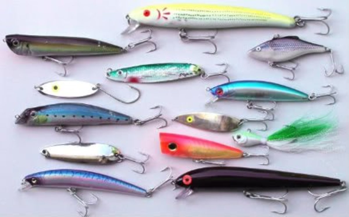 Small metal lures don't have to be this colorful—any minnow-sized bit of metal, with or without a brushy tail, may work.