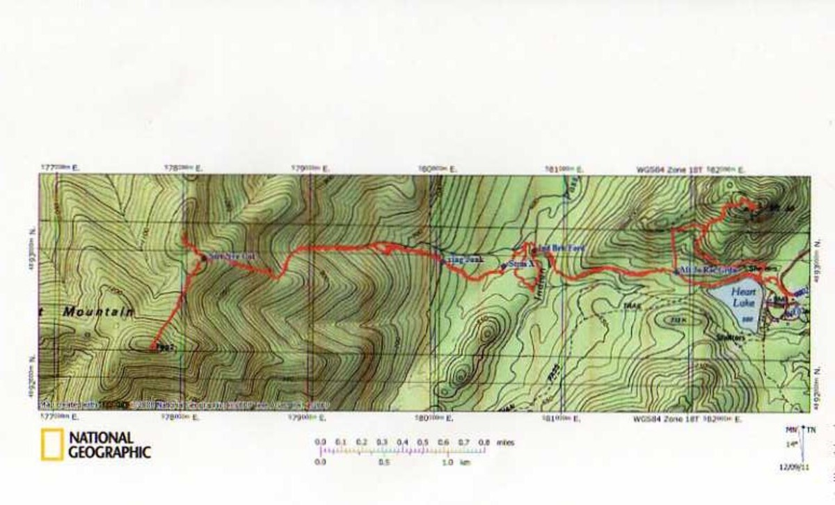 A map of my GPS tracks going up Street and Nye Mountains.