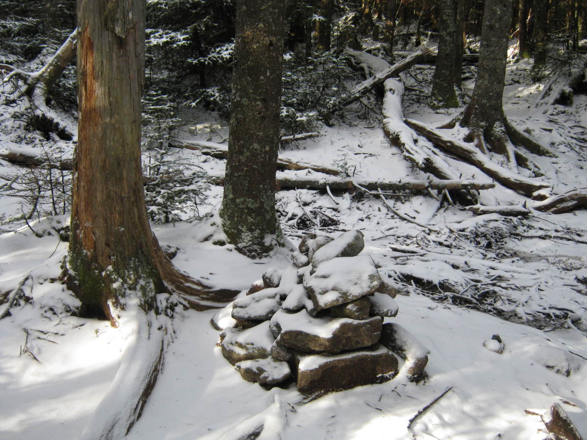 A large cairn marks the intersection in the col where the herd path meets the trail between Street and Nye.