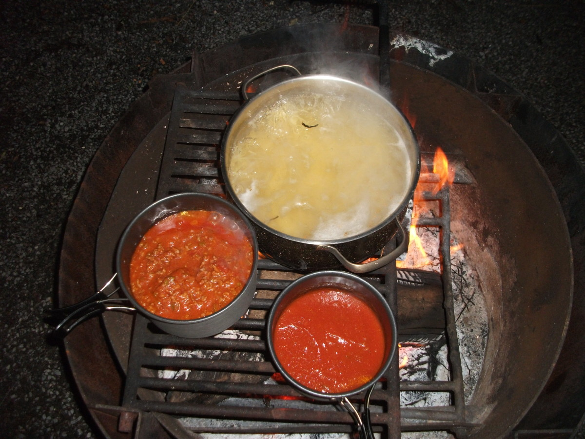 The spaghetti sauces are bubbling away on the grill.