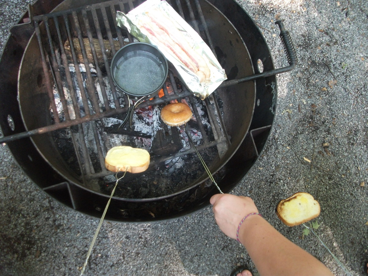 Boil water for eggs and use toasting forks to warm bread.