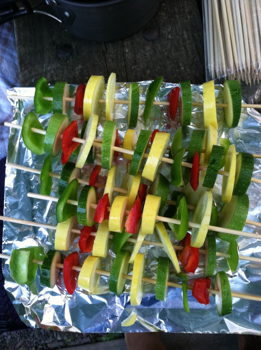 Kabobs prepped for cooking.
