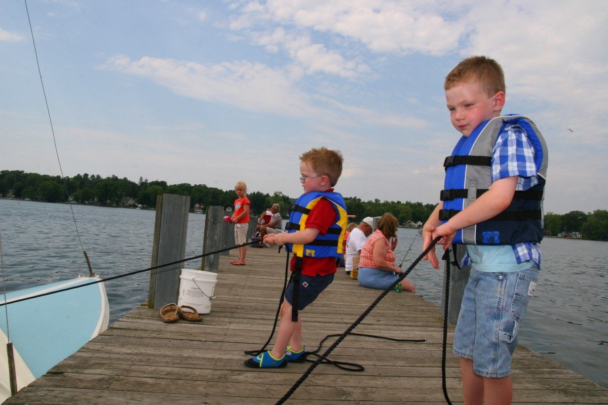 Holding the dock lines helped our boys feel like a part of the crew, and also kept them from running around while on the dock.
