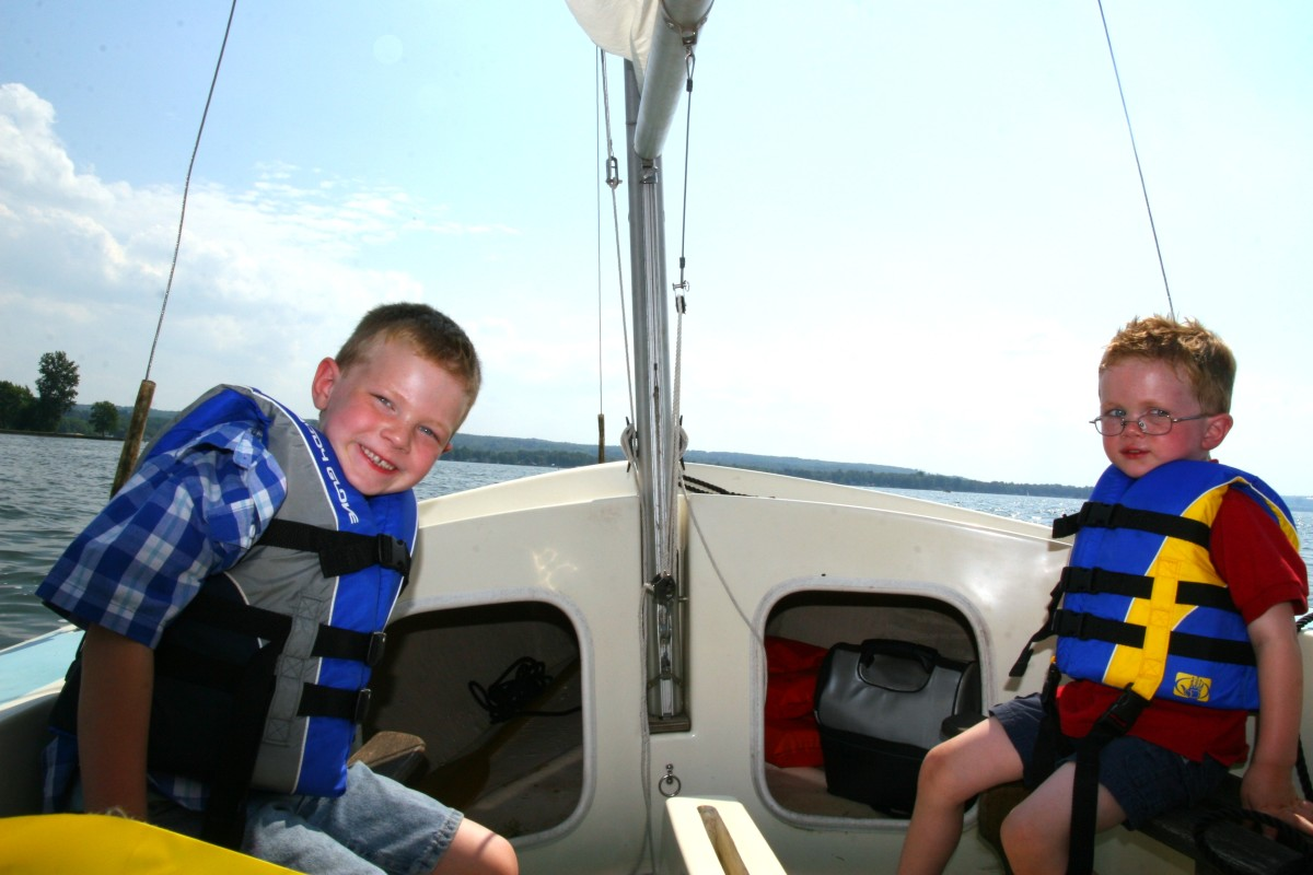 Despite some initial fears, our boys both love sailing.