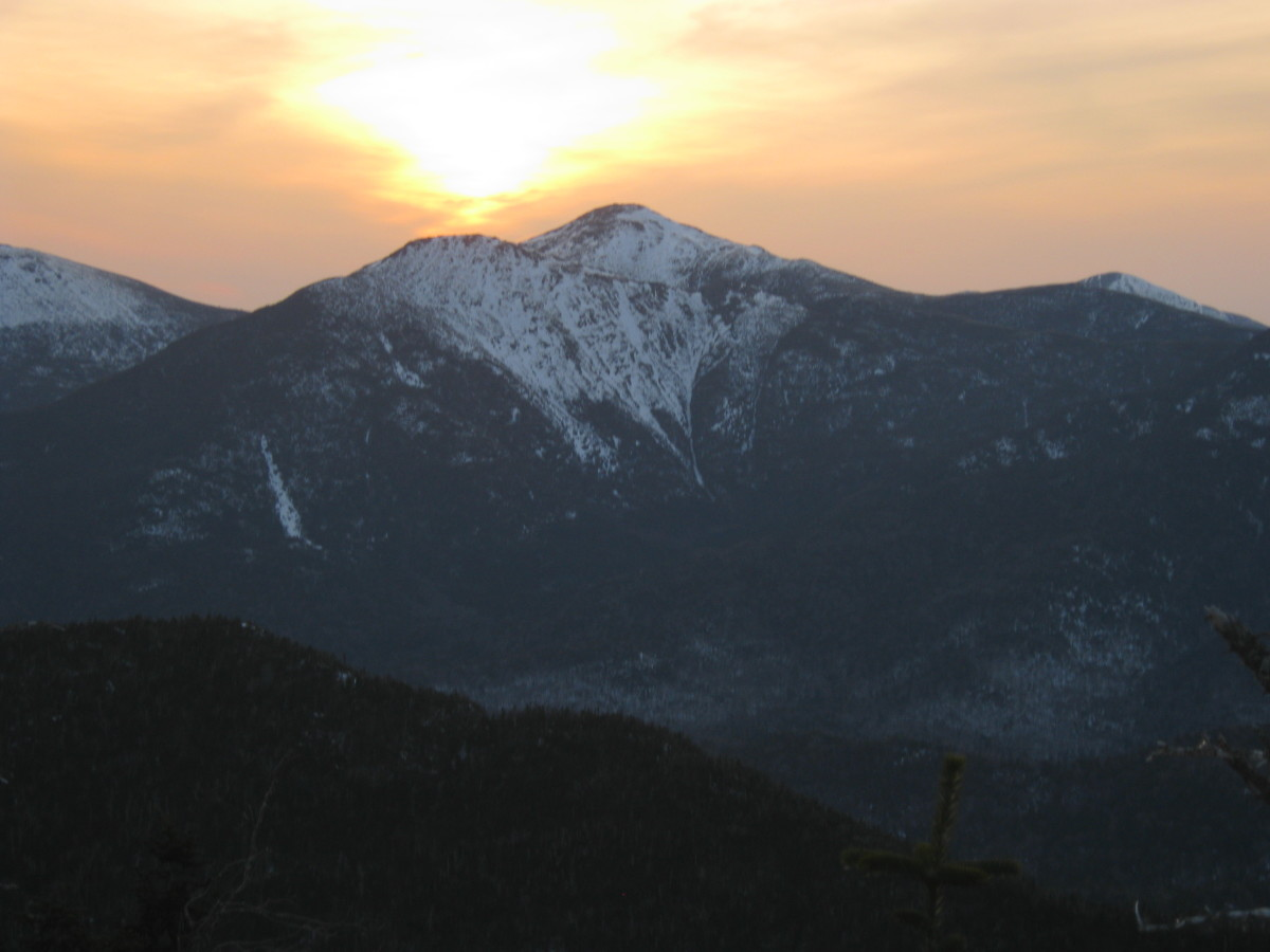 Walking at sunset is a great way to start a night hike.  This picture, the setting sun over the Adirondack Great Range.