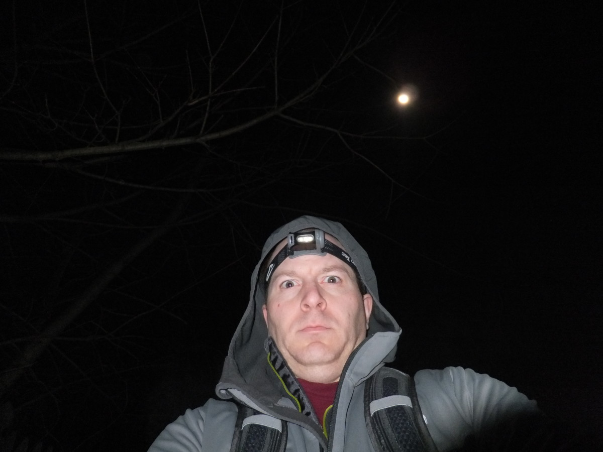 Don't worry, night hiking isn't nearly as scary as this photo.