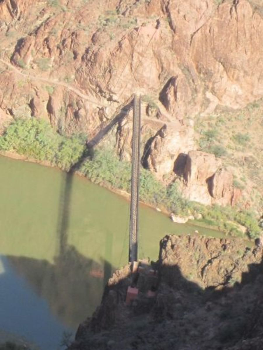 Looking down on the black bridge from the the South Kaibab Trail