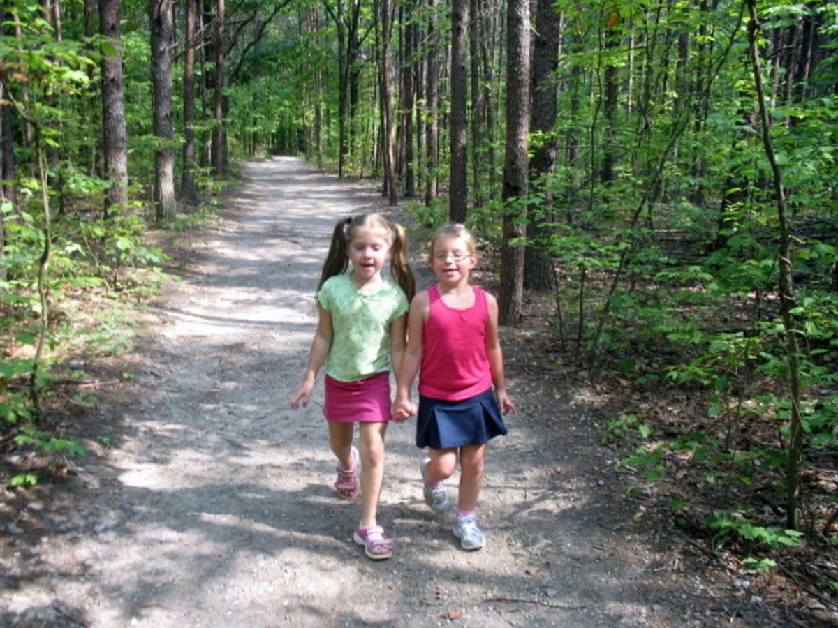 Walking the trail is an excellent way to keep children healthy.