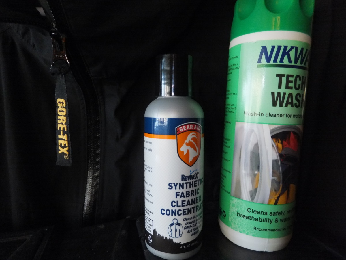 Cleaning products from Nikwax and ReviveX.